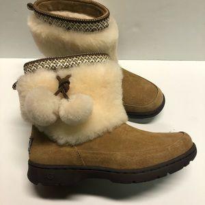 UGG Brie Boots Sheepskin Pom Pom Waterproof Brown